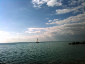 A sailboat on the sea, Castigliocello, February 2015
